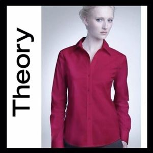 THEORY Larissa Shirt in Cranberry